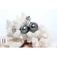 Boucles d'oreilles Boutons perles de tahiti amande