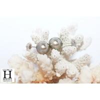 Boucles d'oreilles Boutons et perles de tahiti champagne