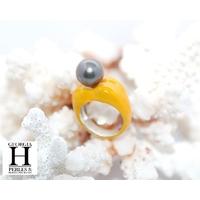 Bague Double-Coeur jaune et perle de tahiti