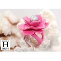 Bague Magnolia rose et perle de tahiti