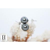 Boucles d'oreilles Boutons perles de tahiti vert amande