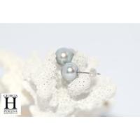 Boucles d'oreilles Boutons perles de tahiti bleu