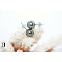 Boucles d'oreilles Boutons perles de tahiti queue de paon clair