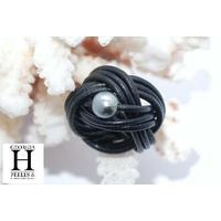 Bague candy noir et perle de tahiti