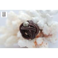 Bague candy chocolat et perle de tahiti