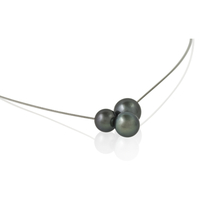 Collier 3 perles de Tahiti câble acier