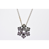 "Pendentif ""flocon de neige blanc brillant"" or blanc et diamants"