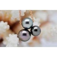 "Collier ""TRIPLETS"" or rose, 3 perles de Tahiti multicolores"
