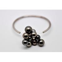 "Bracelet ""BLACK CLOUD"" or blanc 12 perles de Tahiti"