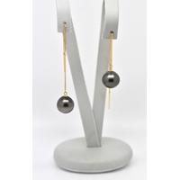 Boucles d'oreilles Chainettes or jaune 2 perles de Tahiti