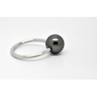 """Bague """"essentiel"""" en acier hypoallergénique 1 perle de Tahiti de 10 mm"""
