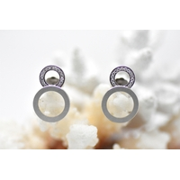 """Boucles d'oreilles """"SATURN"""" double anneaux blanc mat et brillant"""