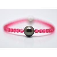 """Bracelet """"Manhattan"""" perles swarovski couleur indian pink et perle de Tahiti"""