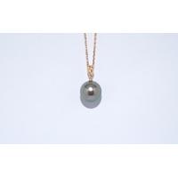 Pendentif  perle de tahiti queue de paon clair