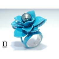 Bague Magnolia bleu et perle de tahiti