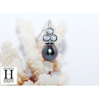"""Pendentif  """"triptic"""" Diamants et perle de tahiti multicolor"""