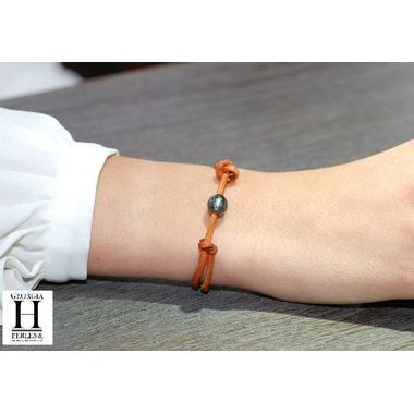 Bracelet Marrakech rouille avec une perle de tahiti