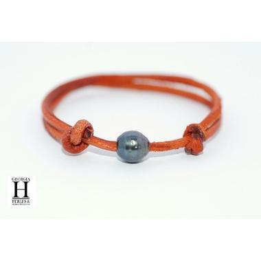 Bracelet Marrakech rouille avec une perle de tahiti (3)