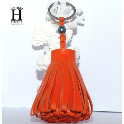 Ponpon Orange et perle de tahiti