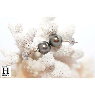 Boucles d'oreilles Boutons et perles de tahiti bleu rosé