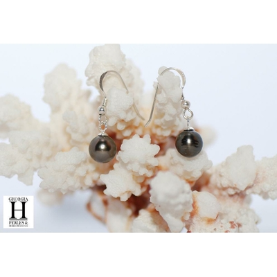 Boucles d'oreilles Crochets perles de tahiti aubergine