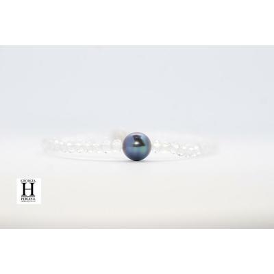 """Bracelet """"Manhattan"""" Cristaux transparents et perle de Tahiti bleu"""
