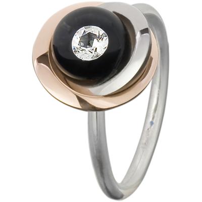Bague bouton de fleur, diamant dans perle de verre, en or rose et acier