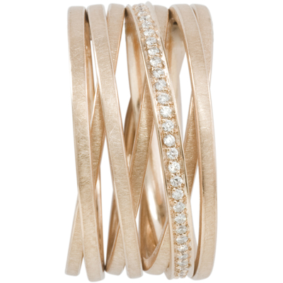"""Bague """"chaine"""" 7 anneaux or rose et diamants"""