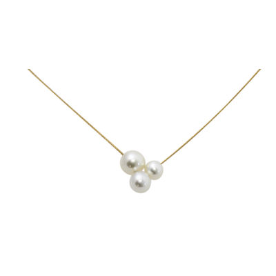 Collier câble or jaune 18 carat 3 perles d'eau douce