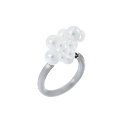 Bague Cloud 12 perles blanches d'eau douce en acier brossé
