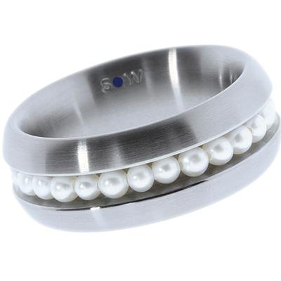 Bague en acier brossé, 25 perles blanches d'eau douce de 3 mm