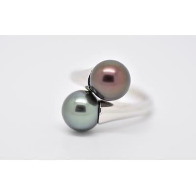 """Bague """"toi et moi"""" en or blanc 2 perles de Tahiti de 9 mm rondes exceptionnelles"""