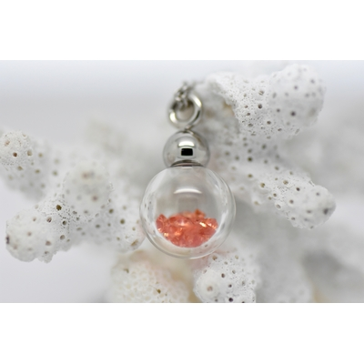 """Pendentif """"boule de neige orange"""", saphirs orange dans un globe"""