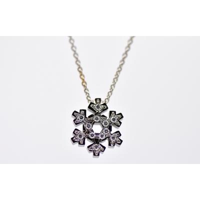 "Pendentif ""flocon de neige blanc brillant"" or blanc et diamants"