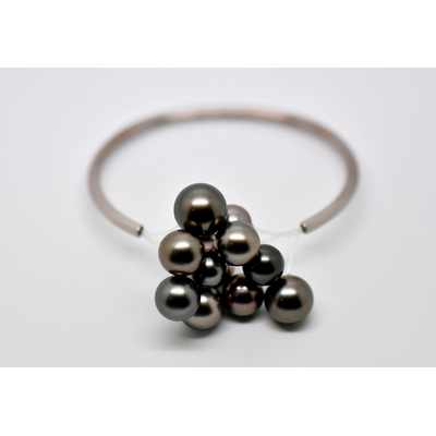 "Bracelet ""BLACK CLOUD"" or blanc 12 perles de Tahiti"