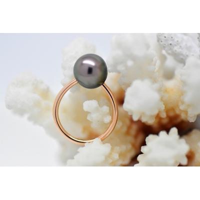 "Bague ""essentiel"" en or rose 1 perle de Tahiti de 10 mm"