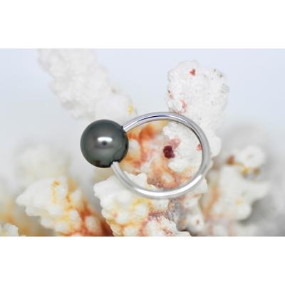 "Bague ""essentiel"" en platine 1 perle de Tahiti de 10 mm"