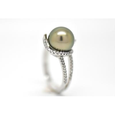 "Bague ""WIND"" platine, diamants blanc et 1 perle de Tahiti"