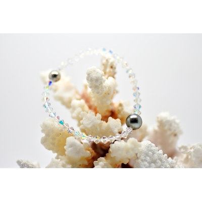 "Bracelet ""Manhattan"" perles toupies swarovski et perle de Tahiti"