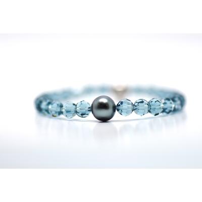 "Bracelet ""Manhattan"" perles swarovski couleur indian blue et perle de Tahiti"