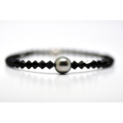 "Bracelet ""Manhattan"" perles toupies noires swarovski et perle de Tahiti"