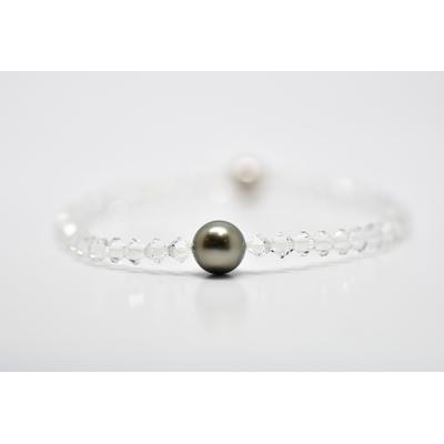 "Bracelet ""Manhattan"" perles swarovski 4 mm et perle de Tahiti"