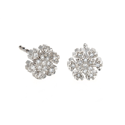 "Boutons d'oreilles ""flocon de neige blanc brillant"" or blanc et diamants"