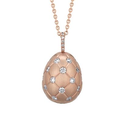 Pendentif oeuf Fabergé collection Treillage en or rose 18 carats et diamants