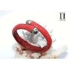 Bracelet Africa galuchat rouge et perles de tahiti