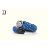Bague cuir de raie galuchat bleu et perle de tahiti (7)