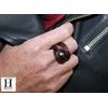 Bague noeud cuir aubergine et perle de tahiti (2)