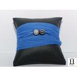 Bracelet manchette soie bleue et perles de tahiti (3)