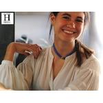Bracelet manchette soie bleue et perles de tahiti (4)