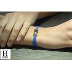Bracelet manchette soie bleue et perles de tahiti (5)